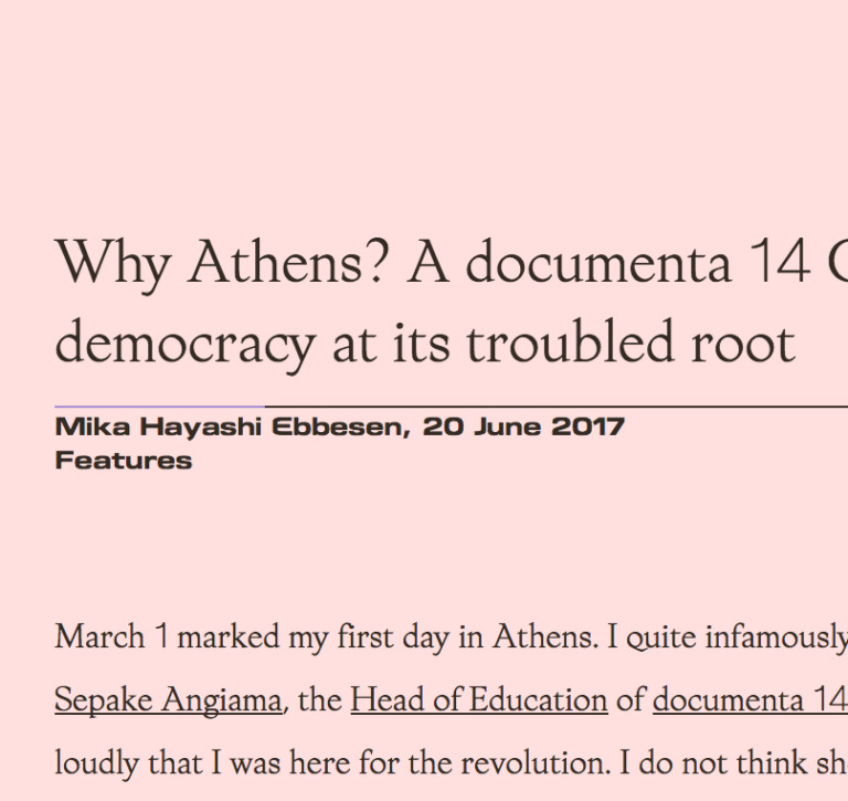 Membrane Why Athens? A documenta 14 Chorus member contemplates democracy at its troubled root